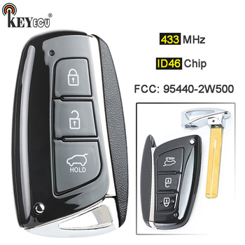 Keyecu 433 mhz can id46 칩 fcc: 95440 2w500 현대 산타페 용 스마트 3 버튼 원격 자동차 키 fob 2012 3013 2014 2015