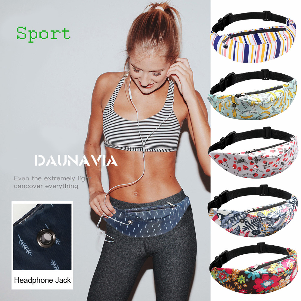 Colorful Print Women Waist Bags Girls Fanny Pack Hip Belt Bags Money Travelling Mountaineering Mobile Phone Bag Slung Packs