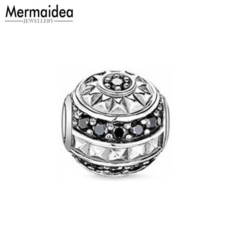 Perlas de plata OVNI de plata de Zirconia se adapta pulsera collar Karma encantos Europea accesorios de la joyería