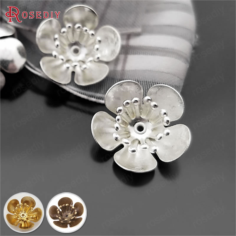 20PCS 16MM,height 5MM Silver Color Plated Brass 3D Plum Flower Beads Caps Diy Jewelry Findings Accessories Wholesale