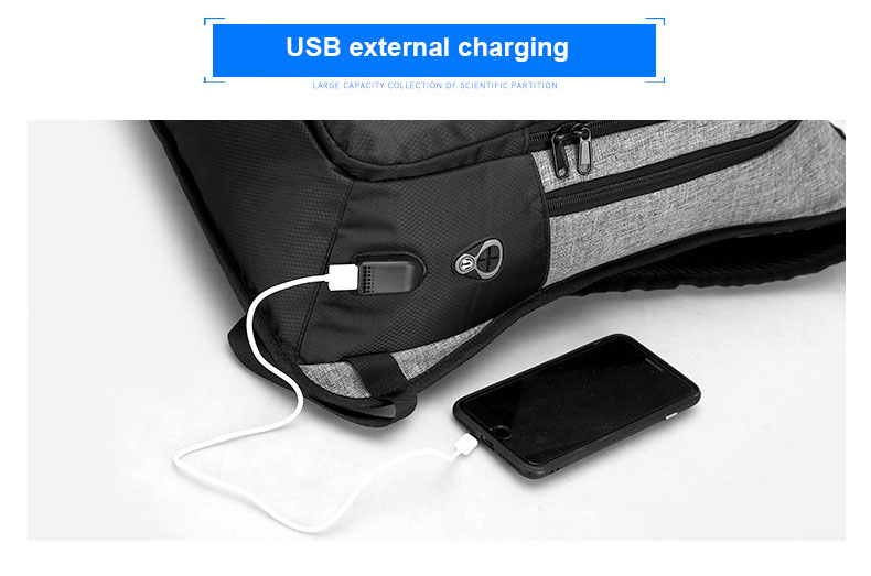 Topdudes.com - Anti Thief Multi-functional USB Charging 15.6inch Laptop Backpacks