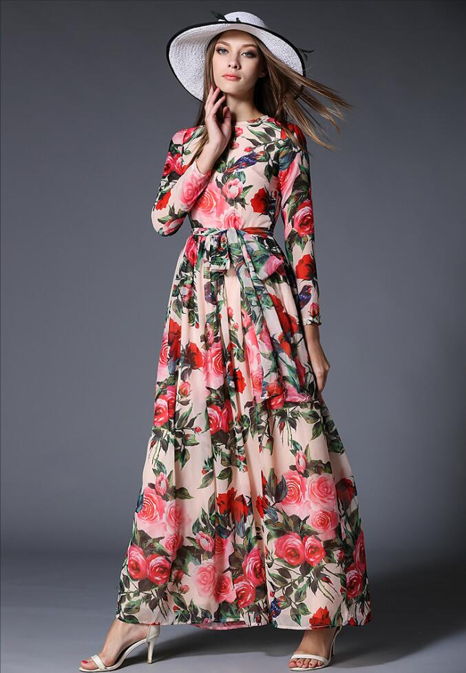 b8f3ba316a16 Ladies Large Swing dresses Vintage maxi Dress Women Floral rose Print Slim  Casual Chiffon boho long dress robe Party Vestidos-in Dresses from Women's  ...