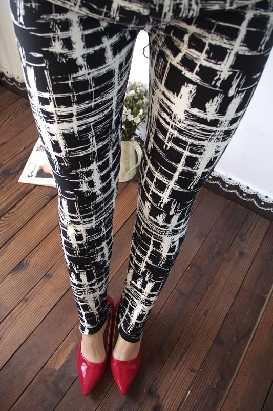 BIVIGAOS Spring Summer Womens Fashion Black Milk Thin Stretch leggings Colored Stars Graffiti Slim Skinny Leggings Pants Female 3