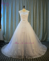 New Design A Line Lace Wedding Dress 2015 V Neck Short Sleeve Lace Up Sheer Back