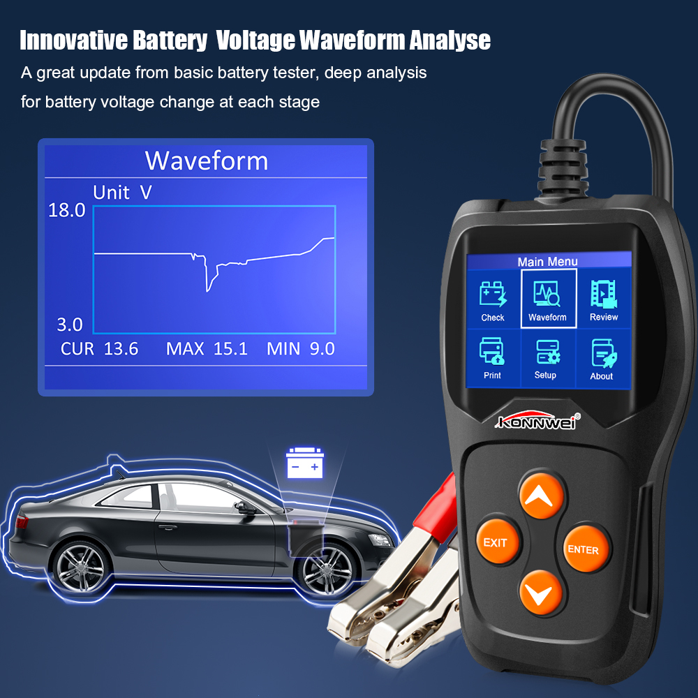 Image 3 - KONNWEI KW600 Car Battery Tester 12V Digital Color Screen Auto Battery Analyzer 100 to 2000CCA Cranking Charging Car Diagnostic-in Battery Measurement Units from Automobiles & Motorcycles