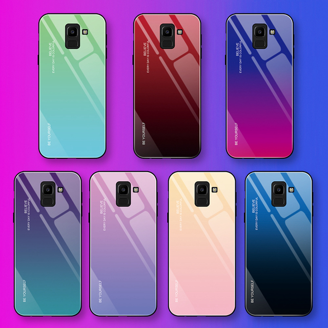 EKDME Tempered Glass Case For Samsung Galaxy S8 S9 S10 Plus S10e A50 A30 70 A7 J6 A8 2018 Note 8 9 M30 M20 Aurora Colorful Cover