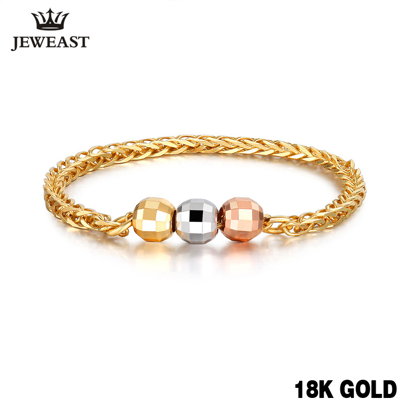 18k Pure Gold Ring Bead Rose 750 Genuine Female Girl Miss Gift Wear Fine Jewelry Trendy 2017 New Hot Sale Top Discount Good new pure au750 rose gold love ring lucky cute letter ring 1 13 1 23g hot sale