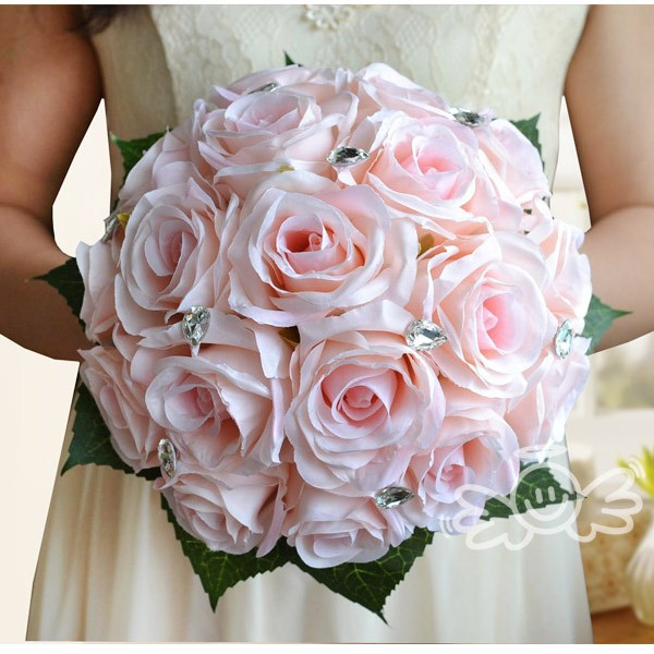 Artificial silk white red pink rose wedding decoration flower artificial silk white red pink rose wedding decoration flower bridesmaid handhold bridal bouquet bride wedding bouquet crystal in wedding bouquets from mightylinksfo