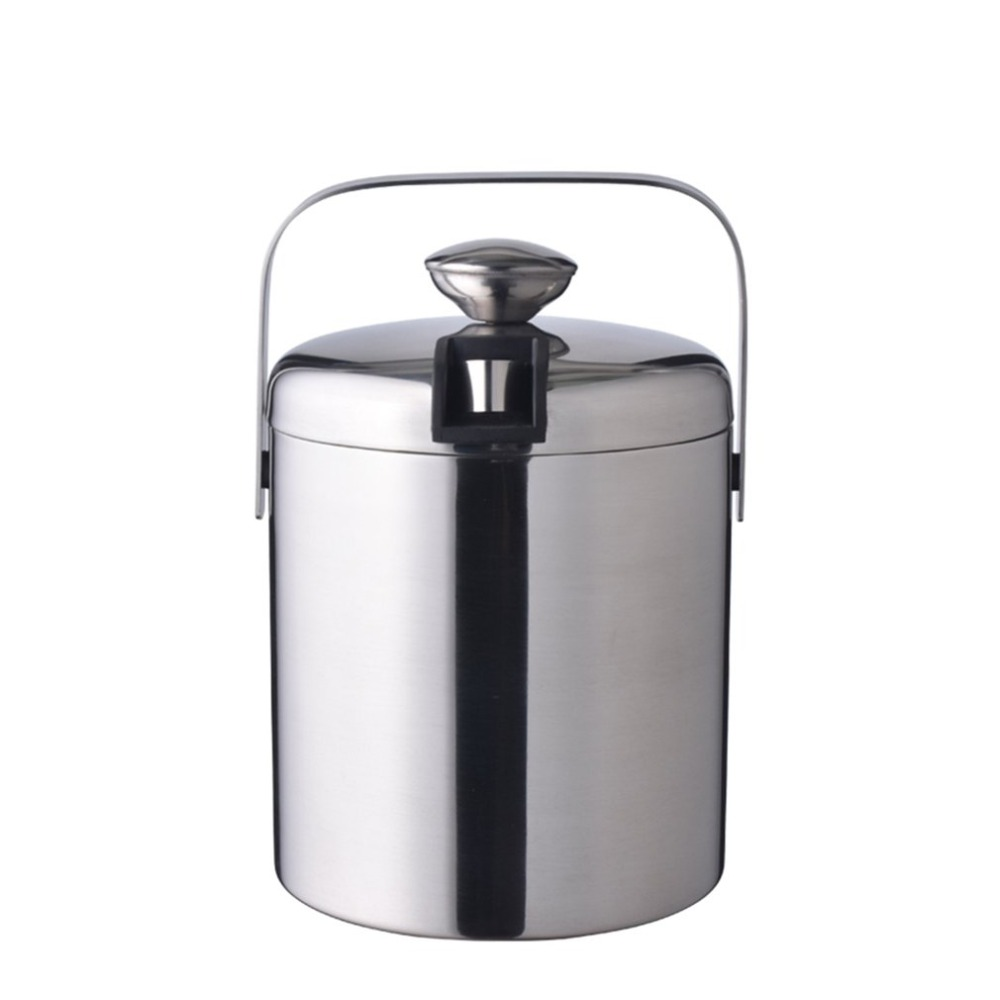 Stainless steel Ice Cube Container Double Walled ice bucket as ice container with tongs and lid Ice container