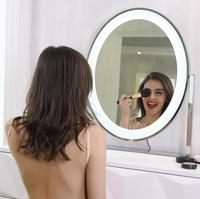 LED Lighted Desk Mirror Round Touch Screen Make Up Mirror Decor Mirror Illuminated Vanity Cosmetic Makeup Mirror