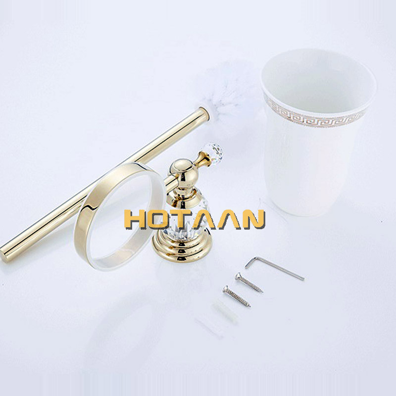 HOTAAN Free Shipping wall mounted Toilet Brush Holder,ceramic cup Construction Base ,gold color Bathroom accessories YT-12812