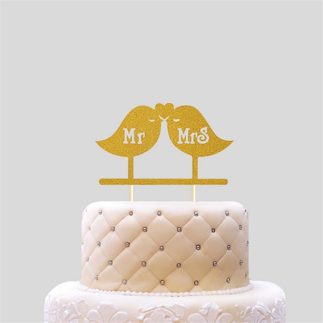 20Pcs Gold Baking Supplies Love Birds Cake Dolls Wedding Cake Topper
