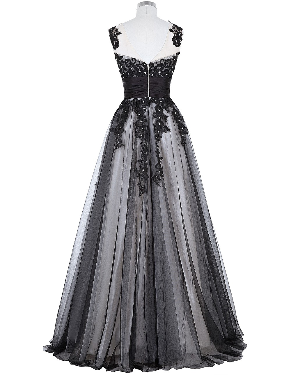 Grace Karin Long Prom Dress 2018 Elegant Black Appliques Sleeveless Soft Tulle Satin Real Picture Robes De Soiree Prom Dresses 10