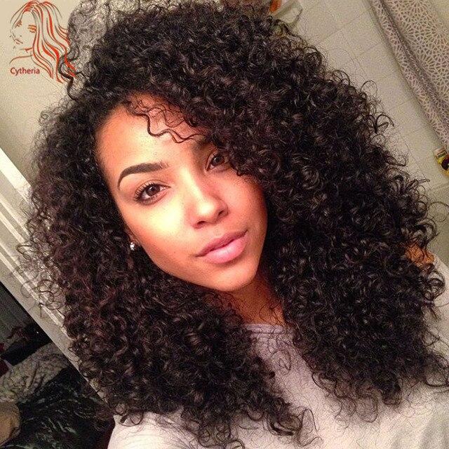 150 Density Kinky Curly Lace Front Human Hair Wigs Brazilian Virgin