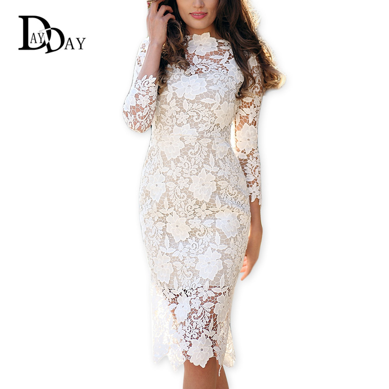 CLEARANCE Designer Women White Lace Dress Bodycon Floral Lace ...