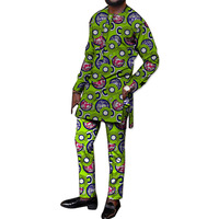 Festival Africa Print Men Tops+Pants Set Customized African Outfits For Man Dashiki long Sleeve Shirts With Festival Trousers