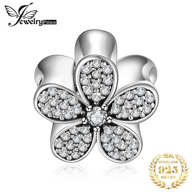 Jewelrypalace 925 Sterling Silver Beads Cubic Zirconia Daisy Flower Beads Charms fit Bracelets DIY Jewelry for Women Girls