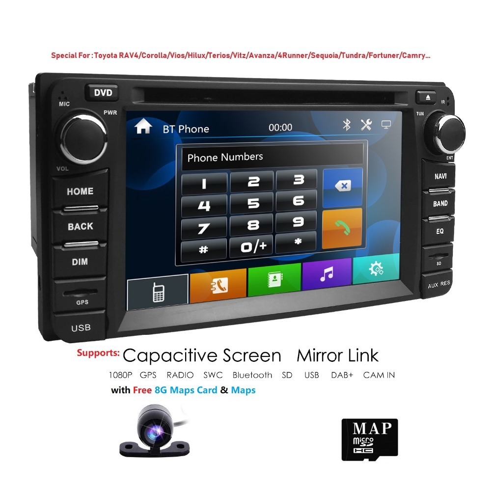 2 din Auto DVD Radio GPS NavigationFor <font><b>Toyota</b></font> Hilux VIOS Old Camry Corolla Prado <font><b>RAV4</b></font> Prado 2003 2004 2005 <font><b>2006</b></font> 2007 2008 TUPFEN CAM image