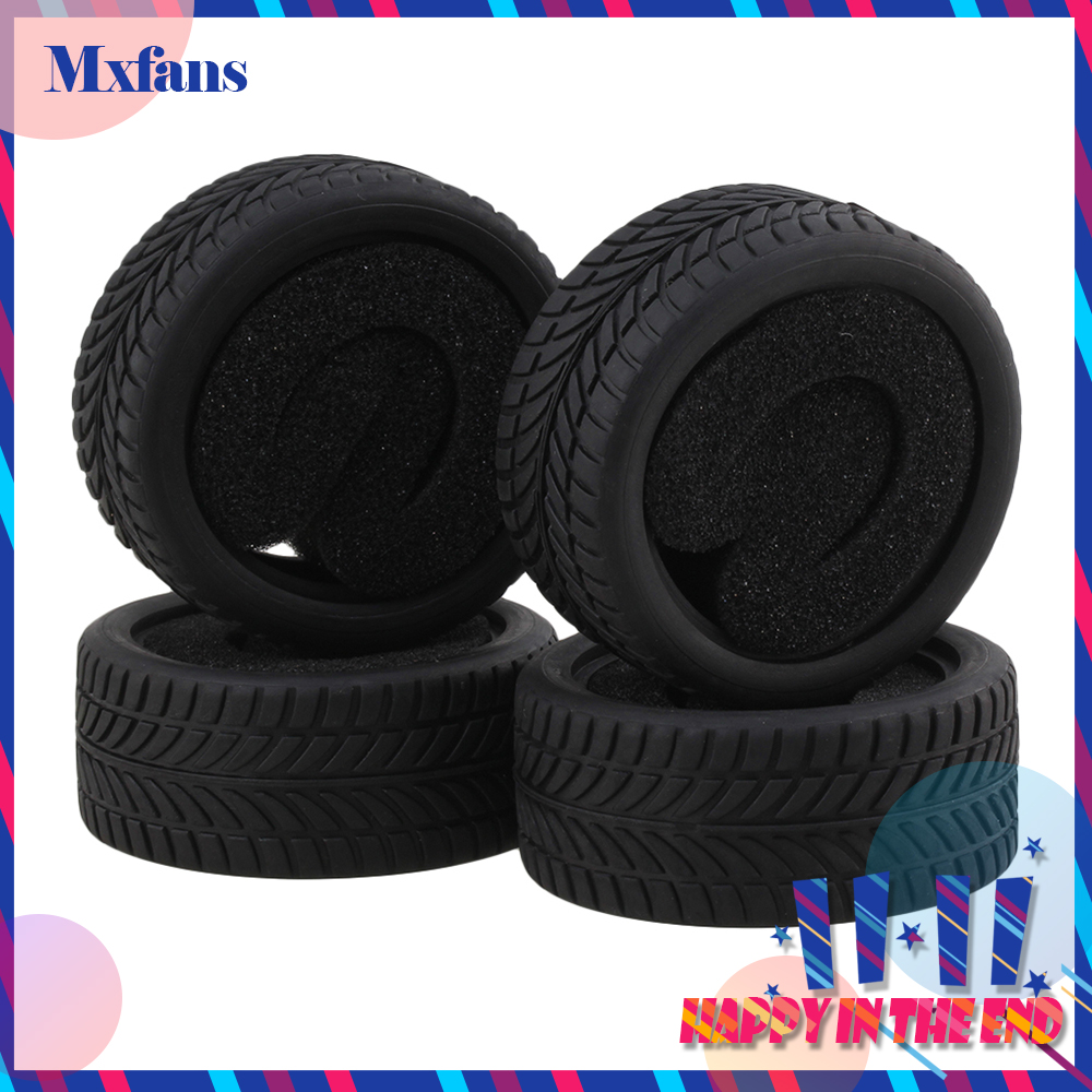 Mxfans 4pcs Black Rubber Tyre for RC 1:10 On Road Racing Car Model Car Spare Parts Tire 1 10 rubber on road racing car model replacement tire black 4 pcs