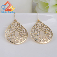 Pendientes jewelry fashion 2018 Smooth hollow out Gold color alloy water drop flower dangle earrings for women