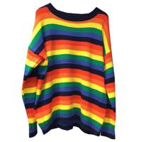 Cute sweet striped rainbow sweater female head loose autumn 2018 new sweater