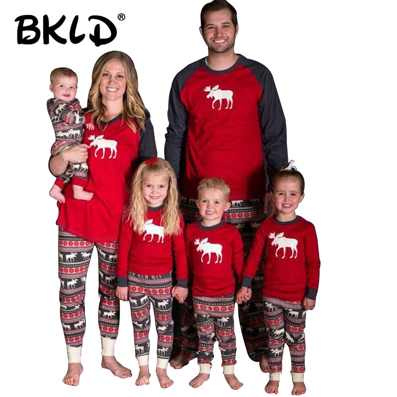 BKLD Family Christmas Pajamas Family Matching Clothes Full Sleeve Women Sets Printing Family Pajamas Set Christmas Clothes