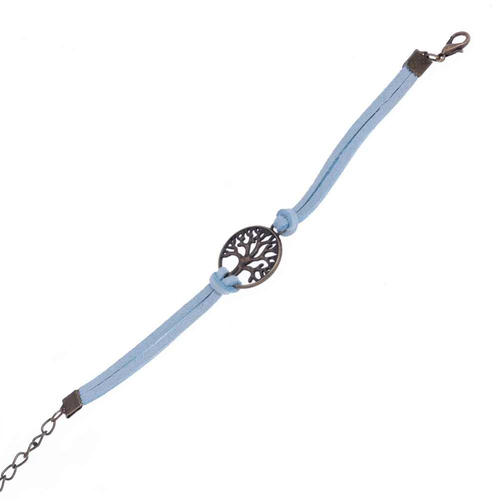 Kobiety bransoletka Retro duże drzewo urok Circle Shape kształt modny bransoletki w stylu Vintage wielowarstwowe skórzane bransoletki dla kobiet biżuteria ręczna