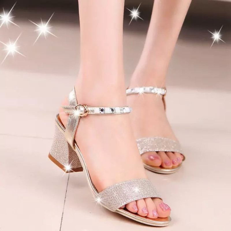 Women Rome Sandals Bling Square Heel Summer Shoes Woman Sexy High Heels Buckle Open Toe Female Fashion Sandalias Mujer SH030607Women Rome Sandals Bling Square Heel Summer Shoes Woman Sexy High Heels Buckle Open Toe Female Fashion Sandalias Mujer SH030607