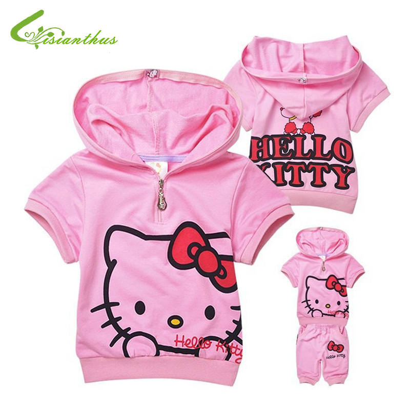 Children Cotton Clothing Set Hello Kitty Short Sleeve Hoodies with Pants Baby Girl Cute Fashion Summer Clothing Free shipping summer girls boys clothes kids set velvet hello kitty cartoon t shirt hoodies pant twinset long sleeve velour children clothing
