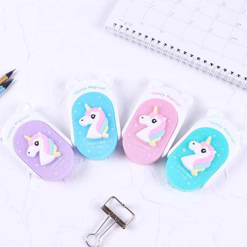 1 Pcs Cartoon 5mm*12m Colorful Magical Unicorn Plastic Correction Tapes Gift Stationery Student Prize School Office Supply
