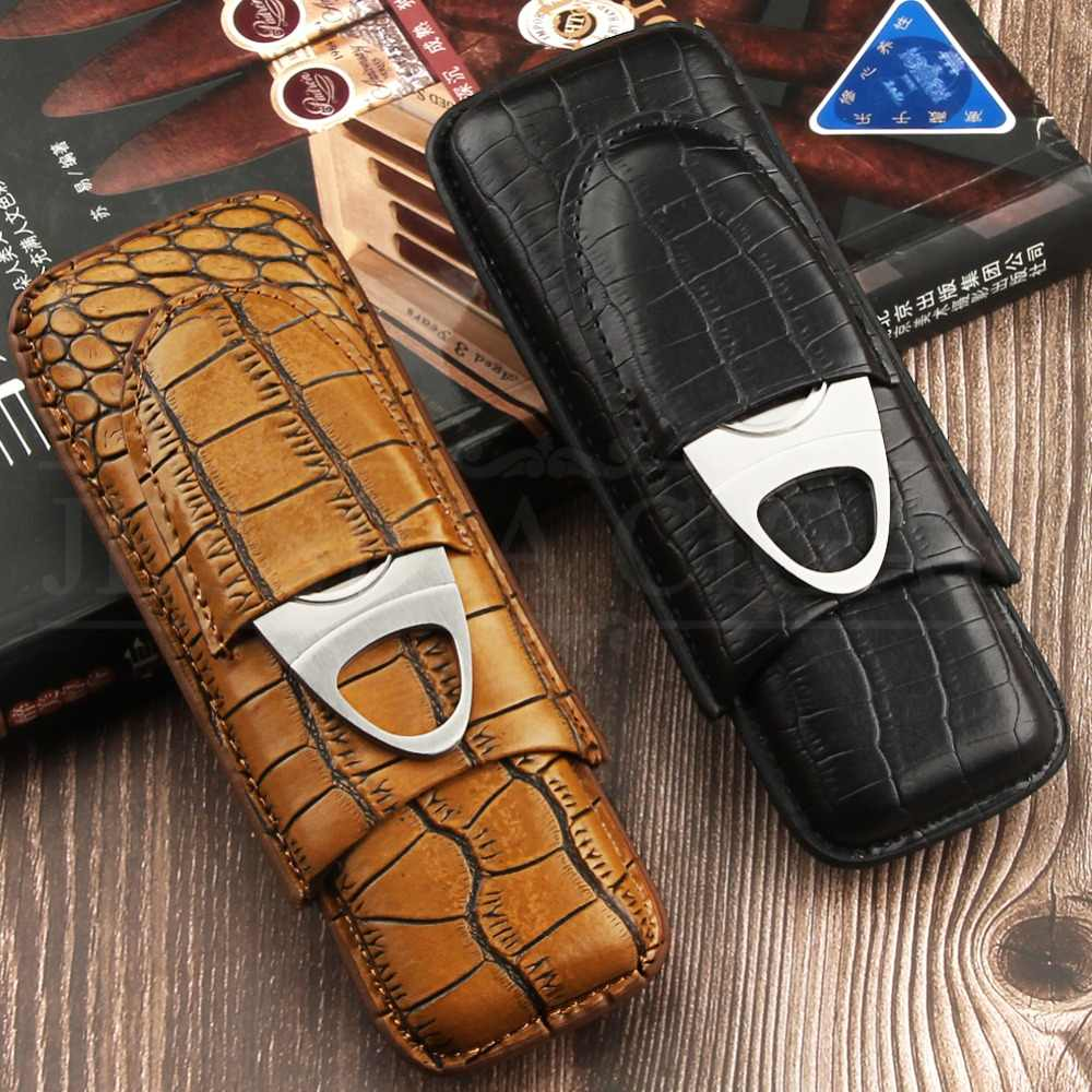 Galiner Leather Cigar Case Travel Crocodile Pattern Leather