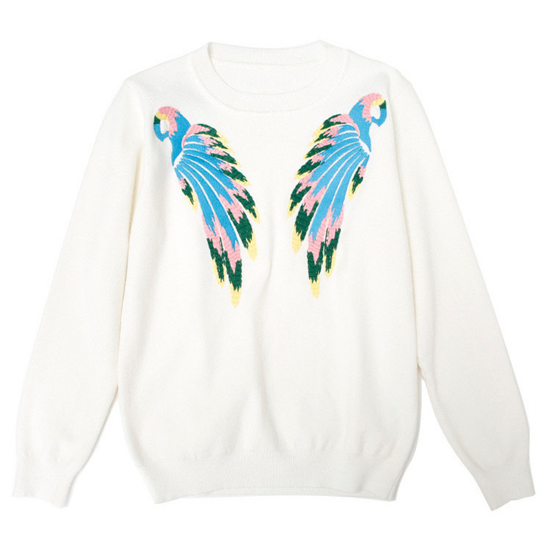 Sruilee Brand Wing Bird Parrot Embroidery Jumper 2018 New Spring