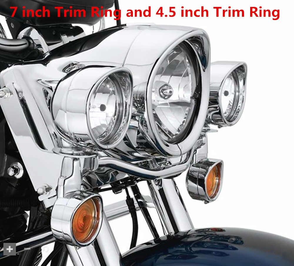 Bikers Choice 4.5 inch Auxiliary Lamp Visor Style Passing Lamp Trim Ring 7 inch Headlight Trim Ring Chrome For Harley Davidson harley davidson headlight price