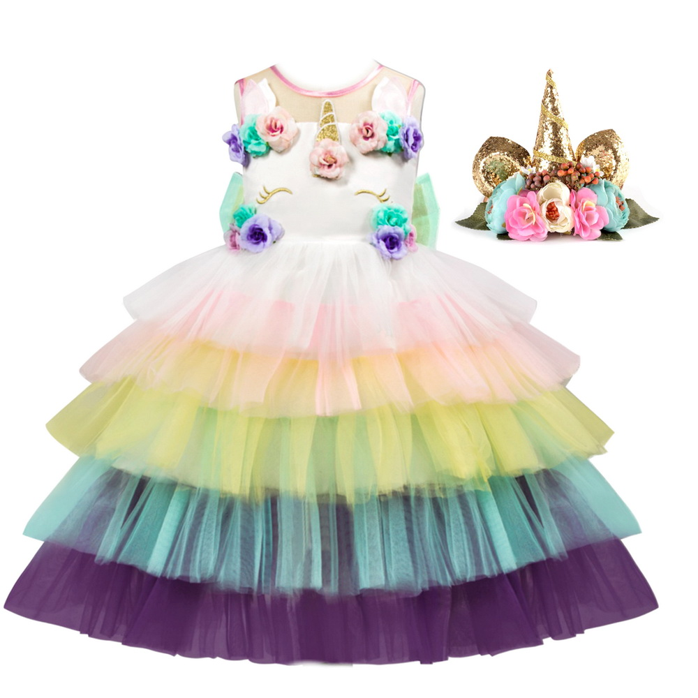 Baby Girl Unicorn Costume With Flowers Headband For Kids Pony Rainbow Tutu Dress Children Halloween Theme Party Dresses in Girls Costumes from Novelty Special Use