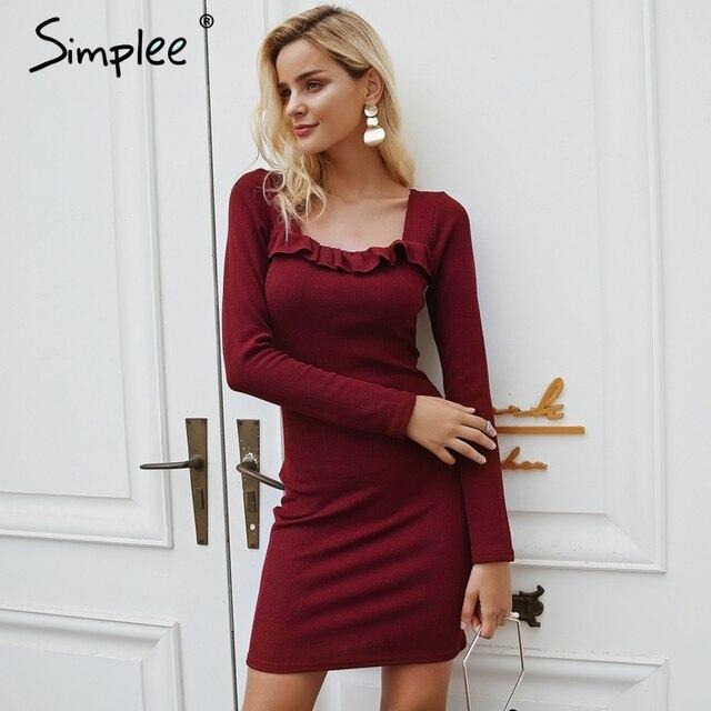 Simplee Ruffles, квадратный вырез, трикотажное платье-свитер, женское винтажное облегающее сексуальное платье с длинным рукавом, черное 2018, осенне-зимние платья