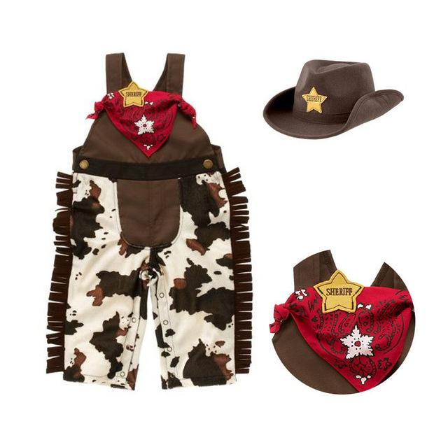 Cowboy traje romper infantil do menino da criança do bebê conjunto roupa da menina 3 pcs chapéu + lenço + romper o dia das bruxas purim evento roupas de aniversário
