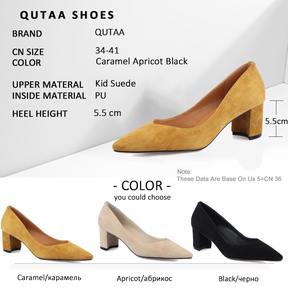 QUTAA 2019 Women Pumps Square High Heel Kid Suede Pointed Toe Comfortable Basic Office Shallow Shoes Classic Slip On Size 34-41