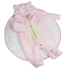 Lovely Pink Plush Baby Girl Doll Clothes Suit 23 inch Reborn Baby Doll Wear Cartoon Bear Rompers Doll Accessories
