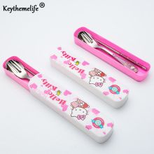 Keythemelife Hello kitty Tableware with portable Box Stainless Steel Cutlery Dinnerware Outdoor Travel friend family FA(China)