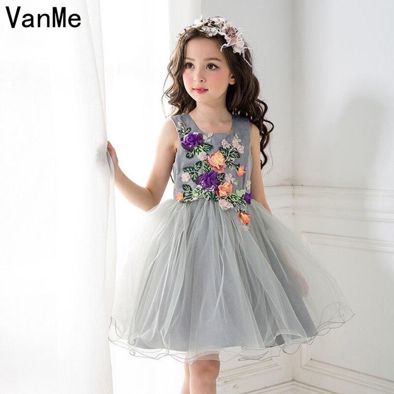 VanMe Formal Girls Moana Vestido Tulle Dress Gray Ball Gown Flower Decoration Birthday Party Girl's Mini Princess Dress  #V-114 вечернее платье nieer vestido 2015 gown ss evening dress