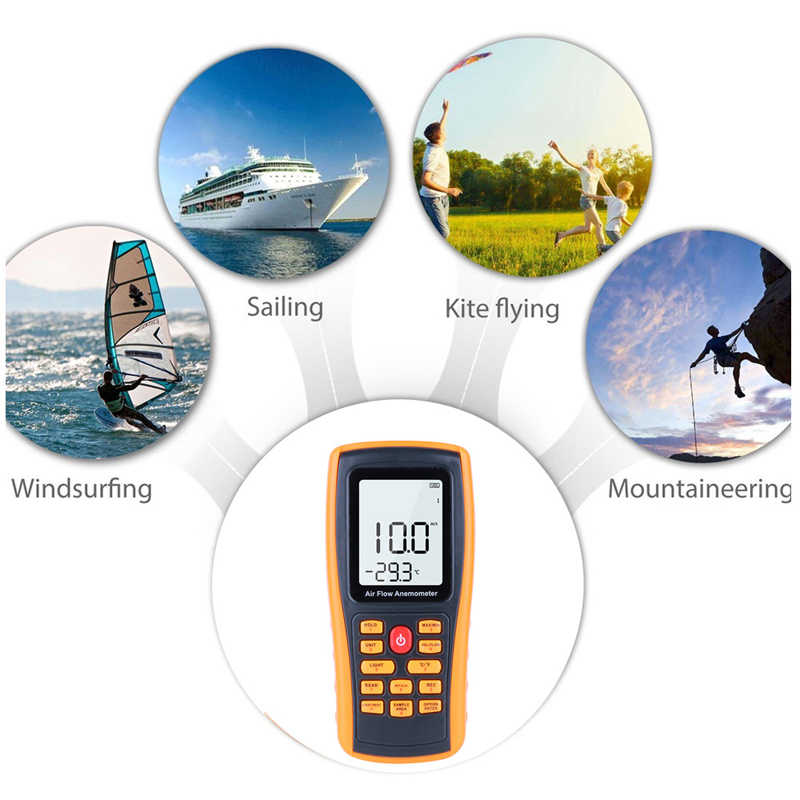 VinTeam Digital Anemometer Wind Speed Meter Wind Gauge Weather Monitor Handheld Anemometer with Backlit Support Wind Temperature Air Volume Measuring for Windsurfing Sailing Surfing Fishing Kite Flyin