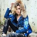 Projeto casaco curto para baixo Jaqueta de Inverno 2016 mulheres para baixo casacos de Marca Outerwear fino de impressão para baixo casacos Com Capuz De Pele Real Azul