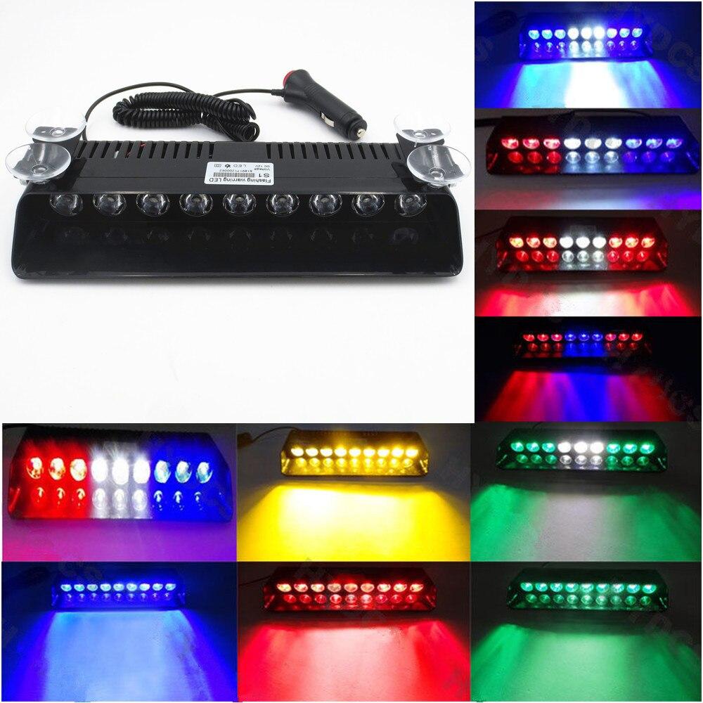 CYAN SOIL BAY Car Styling Universial 9 LED Strobe Flashing Light Sucker Brightly Lamp Ambulance Police Truck Emergency Light