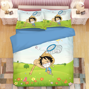 3D Japanese Anime Teen Bedding Set Twin Queen King Size ONE PIECE Duvet Cover with flowers green Pillowcase College Dorm Bedroom