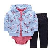 Spring Autumn 3pcs Set Coat Bodysuits Pants Baby Girl Clothes Sets Long Sleeve Cotton Coat Bodysuits