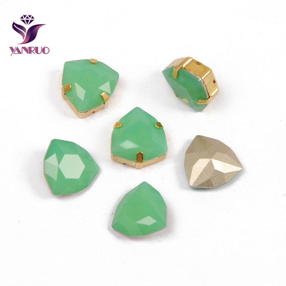 YANRUO 4706 Trilliant Pacific Opal Sewing Rhinestones Glass K9 Fancy Diamond Jewelry Stones Accessories For Clothes in Rhinestones from Home Garden