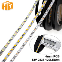 4mm wąska szerokość DC12V LED Strip 2835 120 led/m 5 metrów elastyczny pasek jasny biały, ciepły biały, niebieski, zielony, czerwony bez taśma wodoodporna