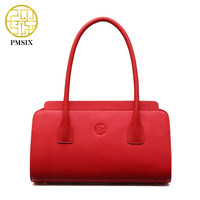 Pmsix Chinese Style Solid Color Leather Bag Cattle Split Leather Red Bridal Bag Ladies Retro Tote