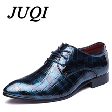 JUQI Men Dress Shoes Patent Leather Pointed Toe Business Wedding Lace-Up Oxford Big Size 38-48