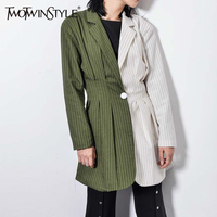 TWOTWINSTYLE Long Sleeve Women S Blazer Patchwork Striped Female Jacket Coat Top Casual Clothes Korean Autumn